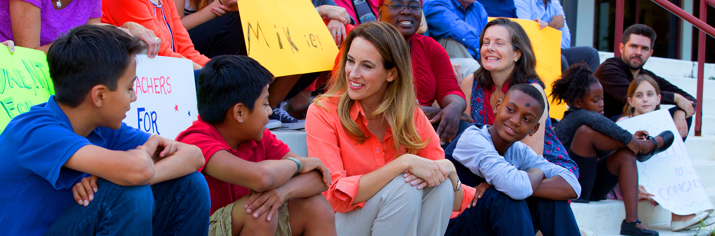 Mikie Sherrill Democratic Candidate for US Congress NJ New Jersey 11th District November 2018 Visiting School Children